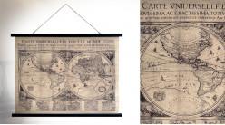 Décoration murale vintage, grande carte à suspendre avec motifs de l'ancien monde, 100cm
