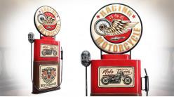 Déco murale ambiance garage, en forme de pompe à essence américaine, vintage et colorée, 79cm