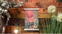 Toile murale à dérouler en bambou avec impression de flamant rose, ambiance vintage, 52cm