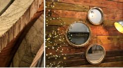Série de trois miroirs ronds avec encadrements en bois finition brut, trois dimensions, Ø35cm