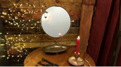 Miroir de table en métal, de forme ronde avec plateau ovale, finition laiton doré effet ancien, 44cm