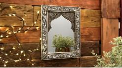 Miroir d'appoint mural de style oriental, forme de porte finition noir charbon et blanc ivoire, 26cm