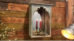 Miroir mural pour bougie, en forme de porte de style oriental, finition bois vieilli gris bleuté, 45cm