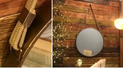 Miroir mural rond à suspendre, en métal finition cuivré effet ancien avec corde tressée, Ø47cm
