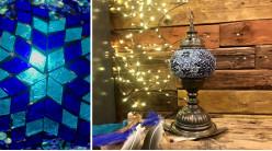 Lampe en métal et mosaïque de verre, teintes bleutées, ambiance orientale, 33cm