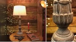 Pied de lampe en résine effet bois sculpté finition brun vieilli, ambiance vieille maison, 45cm