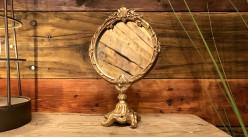 Petit miroir de table en résine finition doré ancien, ambiance boudoir baroque, 20cm