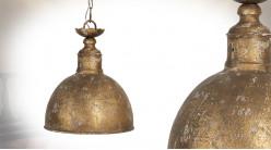 Suspension cloche en métal finition cuivre oxydé, ambiance vieille maison, Ø29cm