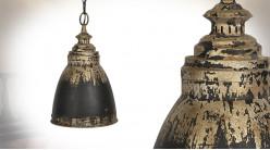 Suspension de style industriel en métal, finition noir usé et vieux doré, Ø28cm