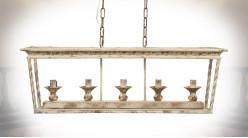 Grande suspension à 5 feux en métal finition oxydé avec reflets doré ancien, 95cm