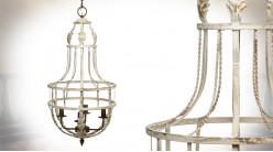 Lustre cage à 4 feux en métal finition blanc oxydé, ambiance vieille maison, 89cm