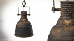 Suspension en métal esprit récup industriel, finition noir charbon oxydé patiné cuivré, 40cm