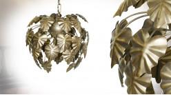 Suspension en métal finition laiton brossé, forme de cocon de feuilles, Ø37cm