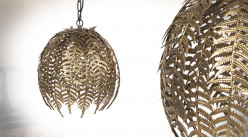 Suspension en métal, forme de feuilles de fougères en cocon, finition doré chic, Ø40cm