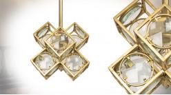 Suspension en métal et verre de style moderne, effet géométrique, finition laiton doré, 38cm