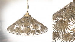 Grande suspension en métal avec abat-jour ciselé, formes de feuilles tropicales, Ø61cm