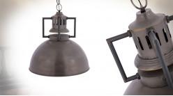 Suspension en métal de style industriel, finition acier vieilli, esprit cloche d'atelier, Ø53cm
