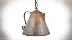Suspension en forme d'ancienne bouilloire, en métal finition acier vieilli, 26cm