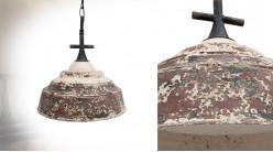 Suspension en métal oxydé, ambiance indus vintage, esprit cloche, Ø33cm