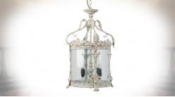 Lanterne en métal et verre à 4 feux, finition blanc antique oxydé, Ø32cm