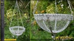 Jardinière suspendue en métal panier rond en métal vieilli
