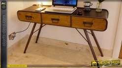 Bureau secrétaire en bois noir et doré de style meubles japonais 110 cm