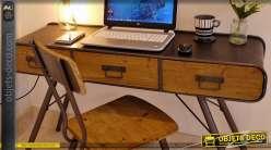 Bureau bois et acier style vintage et nordique meuble de