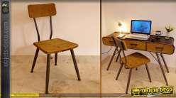 Chaise de style indus et rétro en bois et métal