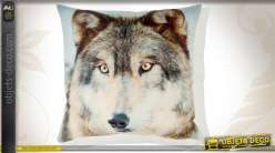 Housse de coussin 45 x 45 en coton motif tête de loup