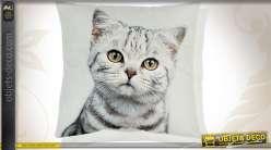 Housse de coussin en coton 45 x 45 motif chaton