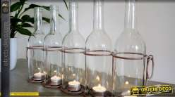 Porte-bougies en forme de panier à bouteilles ancien 5 feux