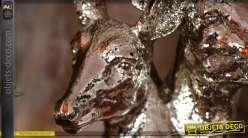 Statuette Tête de cerf et tête de biche finition argent