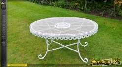 Table basse de jardin ovale en métal coloris blanc à l\'ancienne