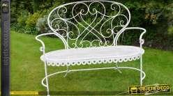 Banc de jardin fer forgé et métal style romantique coloris blanc