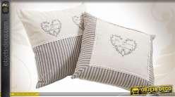 Ensemble coordonné de deux coussins en coton et lin motifs coeurs
