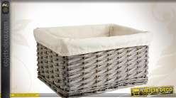 Corbeille de rangement en osier gris avec doublure coton
