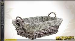 Manne en osier gris clair avec doublure tissu en coton, impression de rosaces et formes arabesques, 40cm