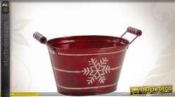 Corbeille en zinc laqué rouge, motif Noël