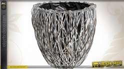 3 cache pots osier teinté gris avec doublure intérieure PVC