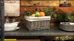 Corbeille de rangement en osier gris avec doublure coton épais, esprit campagne chic, 28cm