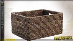 Corbeille de rangement en rotin antique
