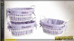 3 corbeilles en osier laquées blanc avec doublures lilas