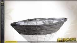 Corbeille bateau en bois gris et blanc 50 cm