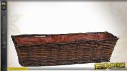 Jardinière en osier brut et métal avec doublure plastique 60 cm