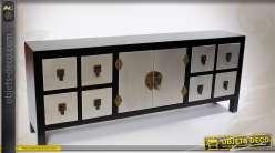 Console de style japonais noir argent et or 2 portes et 8 tiroirs