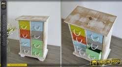 Mini-chiffonnier en bois style rétro à huit tiroirs multicolores