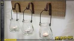 Applique-bougeoir style rustique avec 3 supports en verre
