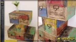Meuble style brocante et récupération multicolore à 6 tiroirs