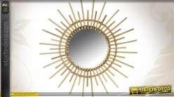 Miroir soleil en rotin  Ø 70 cm
