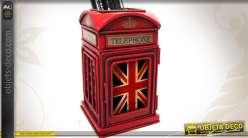 Porte-crayons en métal en forme de cabine téléphonique anglaise